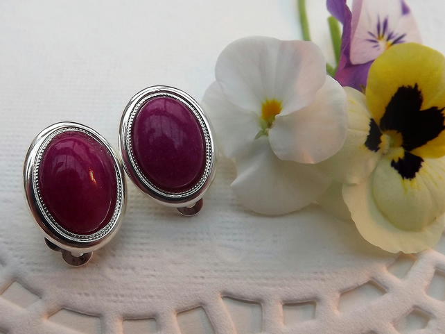 Bright Pink Jade Gemstone Clip on Earrings. Silver Plate.