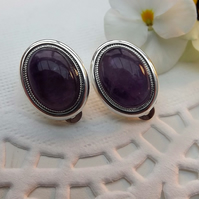 Purple Amethyst Gemstone Clip on Earrings. Silver Plate