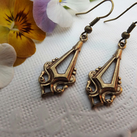 Art Deco, Filigree Work Brass Drop Earrings