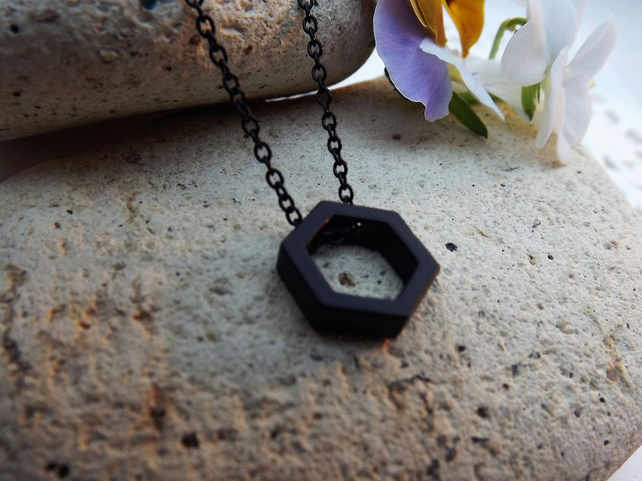 "Black Geometric Necklace. Hexagon Necklace. 18"" necklace"