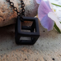 "Black Geometric 3D Cube Necklace. 18"" Length"