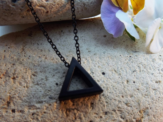 Black Geometric Triangle Necklace Pendant
