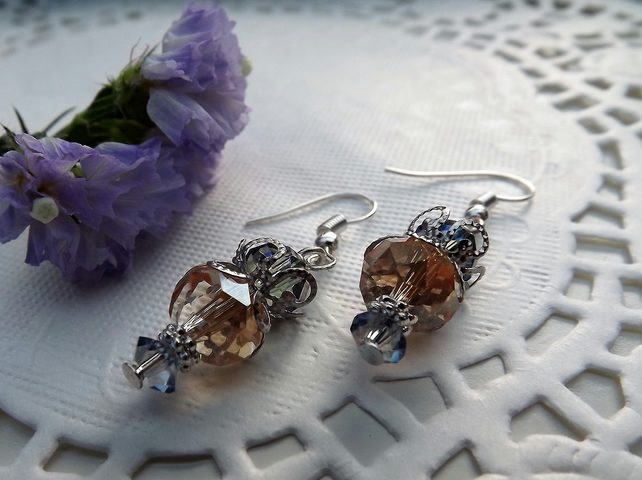 Crystal Rondelle Beaded Earrings Pale Orange and Blue Silver Plated.