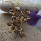 Bouquet of Flowers, Gold Plated Charm Necklace