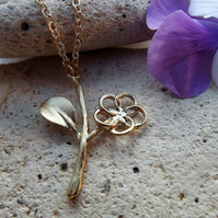 Flower Charm Necklace Gold Plated.