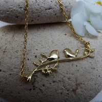 Birds on a Branch Gold Plated Charm Necklace