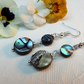 Two cirles Abalone Circle Earrings silver plated. Drop Earrings