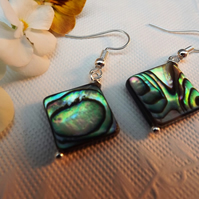 Abalone Square Earrings silver plated. Drop Earrings