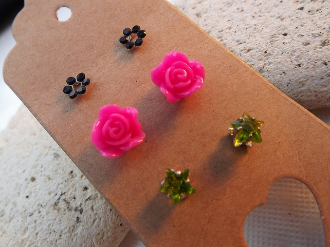 Stud Earring Collection. Flower and Star Stud Earrings. Silver and Silver Plated