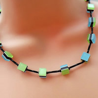 Cube Necklace. Blue, Black and Blue Cube Necklace. Silver Plated.