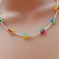 Rainbow Cube Beaded Necklace. Silver Plated.