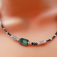 Abalone Beaded Necklace. Silver Plated