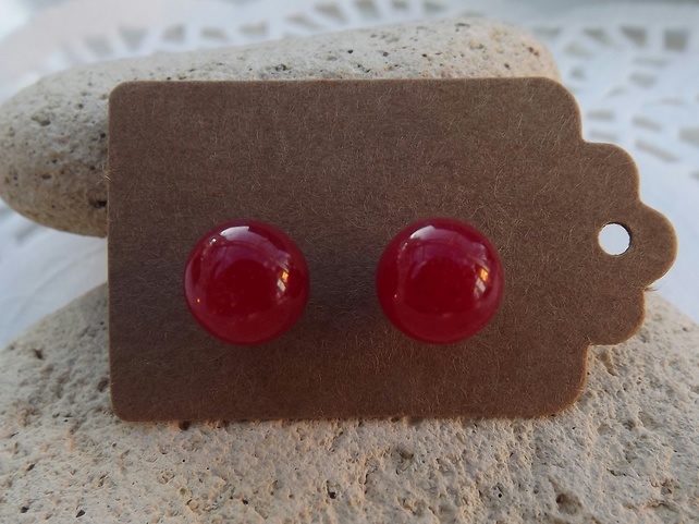 Red Jade Silver Stud Earrings