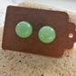 Light Green Jade Stud Earrings. Silver Earrings