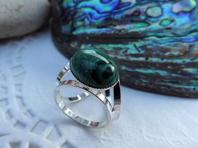 Malachite Scarf Jewellery. Silver Plate. Scarf Ring. Scarf Accessory