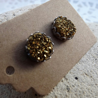 Gold Coloured Druzy Stud Earrings set in Silver (Style 6)