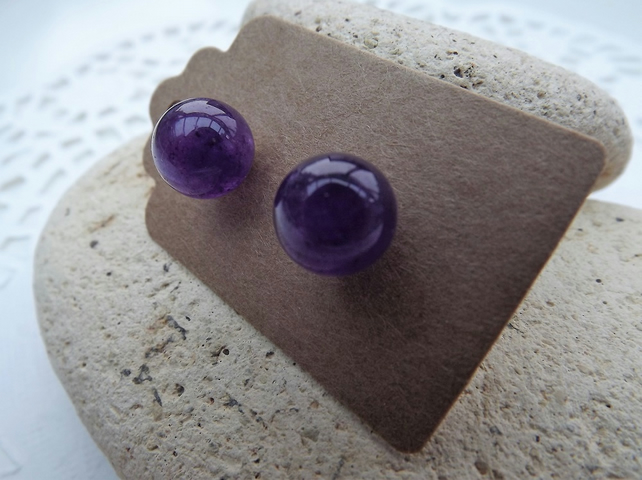 Dark Purple Jade Silver Stud Earrings