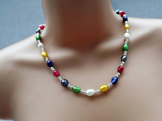 Rainbow Pearl Necklace Silver Plated