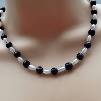 Navy Blue Sandstone and Silver Plated Beaded Necklace.