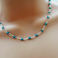 Delicate Turquoise Gemstone Beaded Necklace. Rosary linked, silver plated.