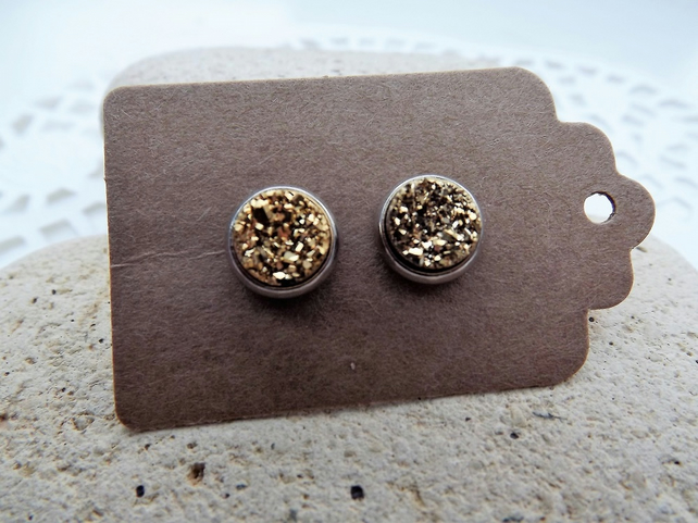 Gold Coloured Druzy Stud Earrings set in Silver. (style 1)