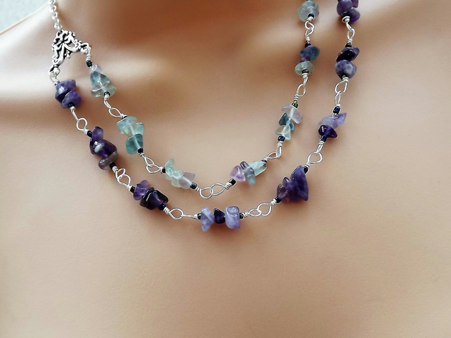 Amethyst and Fluroite Rosary Linked Beaded Necklace.  Silver Plated.