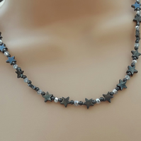Hematite Gemstone and Crystal  Star Necklace.