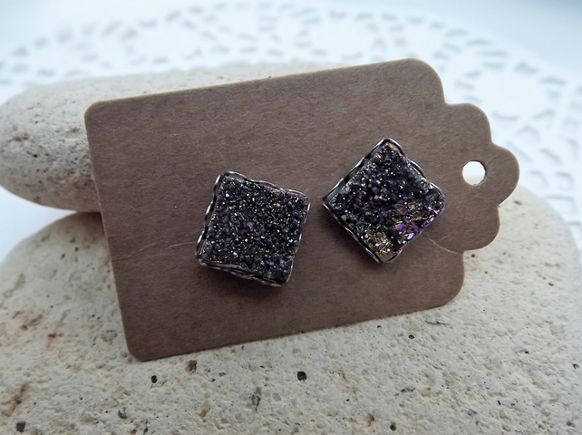 Rainbow Titanium Coated Druzy Stud Earrings.  Silver Stud Earrings (style 2)