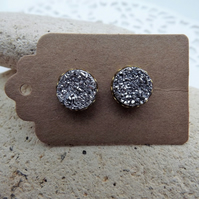 Silver Druzy Stud Earrings set in 9ct Gold. (style 4)