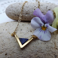 Lapis Lazuli Gemstone Triangle Pendant Necklace. Gold Plate