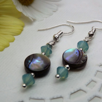 Abalone and Pacific Green Opal Swarovski Crystal Drop Earrings. Silver Plate.