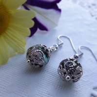 Abalone Silver Plated Circle Earrings