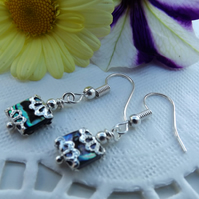 Tiny Abalone Square Earrings.  Silver Plated drop Earrings.