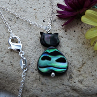 Abalone Cat Heart Necklace.