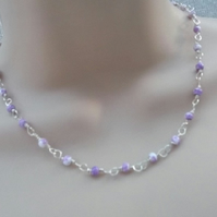 Purple and white Delicate Rosary Linked Necklace.  Beaded Necklace.