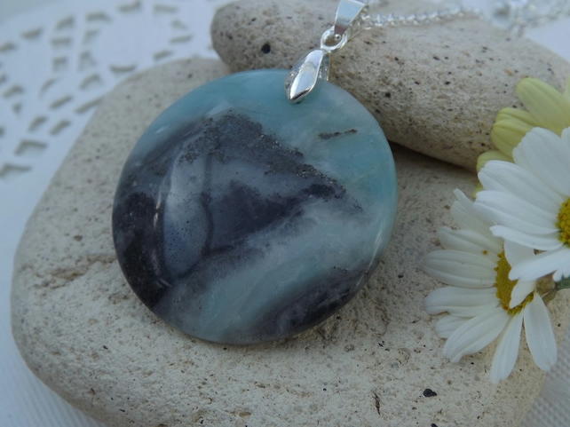 Green Blue Amazonite or Hope Stone Circle Pendant