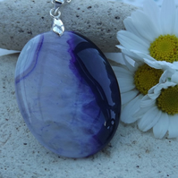 Purple and White Agate Oval Gemstone Pendant