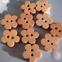 10 Wooden Flower Buttons (11mm) on a Tag