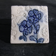 Lace Flower Porcelain Brooch