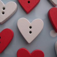 8 Red and White Wooden Heart Buttons on Tags