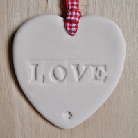Porcelain LOVE Heart Hanging
