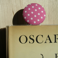 Pink and White Dots Button Paperclip Style Bookmark