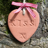 Terracotta KISS Heart Hanging Gift
