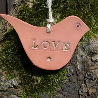 Terracotta LOVE bird Hanging