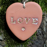Terracotta LOVE Heart Hanging Gift