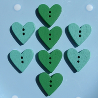 8 Turquoise and Green Wooden Heart Shaped Buttons