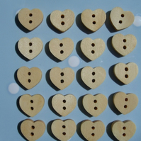 20 Wooden Heart Shaped Buttons