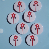 8 Red and White Flower Pattern Plastic Buttons