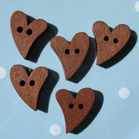 Set of 10 Dark Wood Heart Shaped Buttons