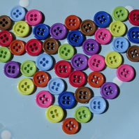 45 Small Round 4 Hole Acrylic Colourful Buttons